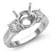 3 Stone Round Diamond Engagement Ring 14k White Gold Princess Channel Setting 1Ct - javda.com