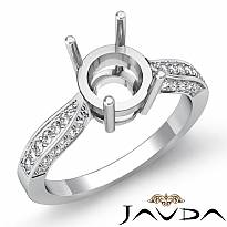 0.4Ct Round Diamond Engagement Ring Cathedral Pave Set 14k White Gold Semi Mount