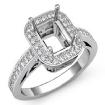 0.85Ct Diamond Engagement Ring Emerald Semi Mount 14k White Gold Halo Setting - javda.com