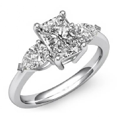 3 Stone Basket Style Radiant diamond engagement Ring in 14k Gold White
