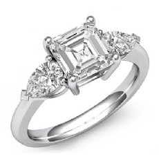 3 Stone Basket Style Asscher diamond engagement Ring in 14k Gold White
