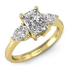 3 Stone Basket Style diamond Ring 14k Gold Yellow