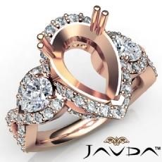 Pear Diamond Three 3 Stone Anniversary Setting Ring 14k Rose Gold Semi Mount  (1.5Ct. tw.)
