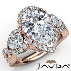 Pear diamond engagement Ring in 14k Rose Gold