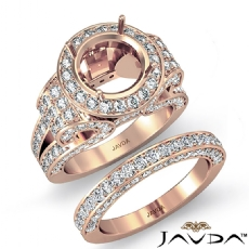 Diamond Engagement Ring Round Halo Pave Setting Bridal Set 14k Rose Gold (3.7Ct. tw.)