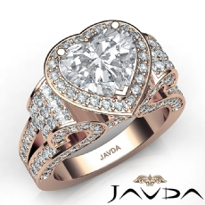 Tall Cathedral Vintage Halo Heart diamond  Ring in 14k Rose Gold