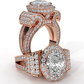 Oval diamond  Ring in 18k Rose Gold