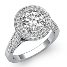 Floral Motif Halo Pave Set Round diamond engagement Ring in 14k Gold White