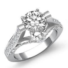 Classic Sidestone Bezel Pave Round diamond engagement Ring in 14k Gold White
