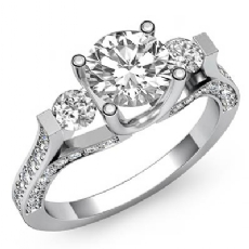 3 Stone Bar Set Sidestone Round diamond engagement Ring in 14k Gold White