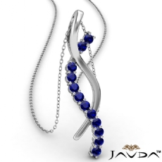 Twisted Ribbon Round Sapphire Gemstone Pendant Necklace Platinum 950 <Dcarat>