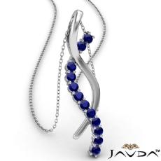 Twisted Ribbon Round Sapphire Gemstone Pendant Necklace 14k White Gold 0.25Ct