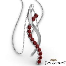 Twisted Ribbon Round Ruby Gemstone Pendant Necklace 14k White Gold 0.25Ct