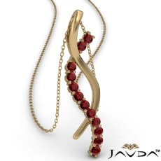 Twisted Ribbon Round Ruby Gemstone Pendant Necklace 14k Gold Yellow <Dcarat>