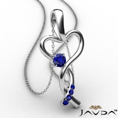 Infinity Heart Pendant Necklace 18k Gold White Round Sapphire Gemstone <Dcarat>