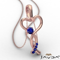 Infinity Heart Pendant Necklace 14k Rose Gold Round Sapphire Gemstone <Dcarat>
