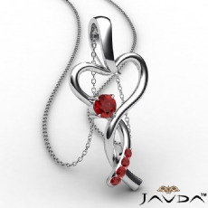 Infinity Heart Pendant Necklace 18k Gold White Round Ruby Gemstone <Dcarat>