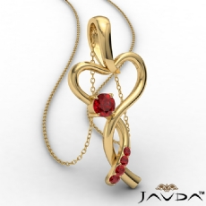 Infinity Heart Pendant Necklace 14k Gold Yellow Round Ruby Gemstone <Dcarat>
