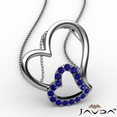 Accent Double Heart Pendant Necklace 18k Gold White Round Sapphire Gemstone <Dcarat>