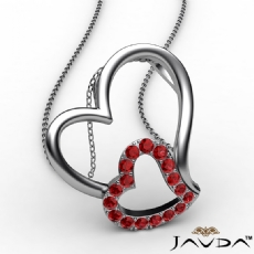 Accent Double Heart Pendant Necklace 18k Gold White Round Ruby Gemstone <Dcarat>