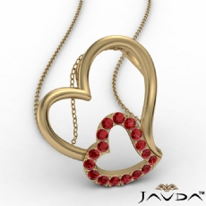 Accent Double Heart Pendant Necklace 14k Gold Yellow Round Ruby Gemstone <Dcarat>
