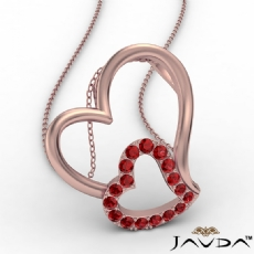 Accent Double Heart Pendant Necklace 14k Rose Gold Round Ruby Gemstone <Dcarat>
