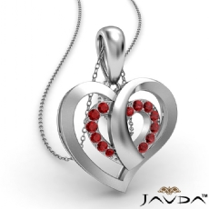 Round Ruby Gemstone Overlay Heart Pendant Necklace 18k Gold White <Dcarat>