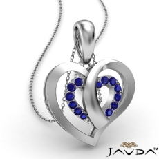 Round Sapphire Gemstone Overlay Heart Pendant Necklace 18k Gold White <Dcarat>