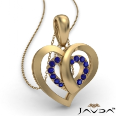 Round Sapphire Gemstone Overlay Heart Pendant Necklace 14k Gold Yellow <Dcarat>