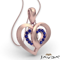 Round Sapphire Gemstone Overlay Heart Pendant Necklace 14k Rose Gold <Dcarat>