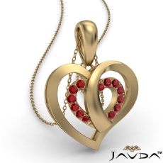 Round Ruby Gemstone Overlay Heart Pendant Necklace 14k Gold Yellow <Dcarat>