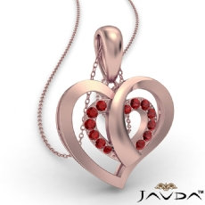 Round Ruby Gemstone Overlay Heart Pendant Necklace 14k Rose Gold <Dcarat>
