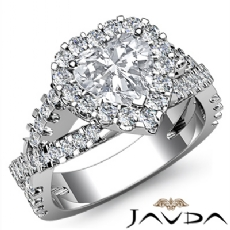 Halo Shared Prong Cross Shank Heart diamond engagement Ring in 14k Gold White