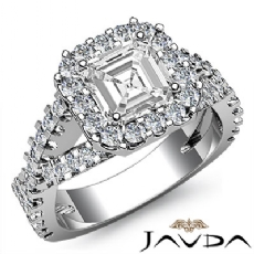 Halo Shared Prong Cross Shank Asscher diamond engagement Ring in 14k Gold White