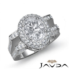 Gala Halo Split Shank Oval diamond engagement Ring in 14k Gold White