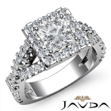 Halo Shared Prong Cross Shank Princess diamond engagement Ring in 14k Gold White