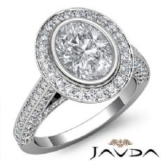 Halo Bezel Set Bridge Accent Oval diamond engagement Ring in 14k Gold White