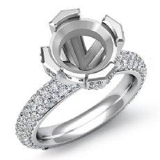 1.5Ct Pave Round Diamond Women Engagement Ring Setting Semi Mount 14k White Gold