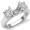 Round Diamond Three Stone Anniversary Semi Mount Ring 14k White Gold Setting 0.5Ct - javda.com