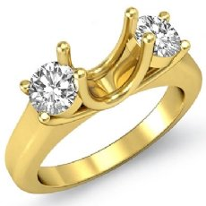 Round Diamond Three Stone Anniversary Semi Mount Ring 18k Gold Yellow Setting  (0.5Ct. tw.)