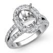 1.4Ct Diamond Engagement Ring 14k White Gold Oval Semi Mount Halo Pave Setting - javda.com