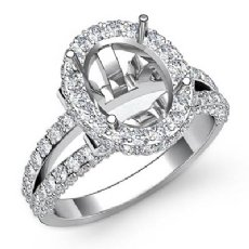 1.4Ct Diamond Engagement Ring 14k White Gold Oval Semi Mount Halo Pave Setting