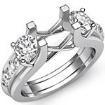 Round Diamond 3 Stone Engagement SemiMount Ring 14k White Gold Prong Bar Setting 1Ct - javda.com