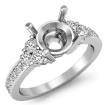 Round Side Diamond Engagement 6 Stone Ring Semi Mount 14k White Gold Setting 0.5Ct - javda.com