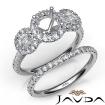 Halo Diamond 3 Stone Engagement Ring Bridal Set 14k White Gold Semi Mount 1.45Ct - javda.com