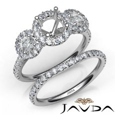 Halo Diamond 3 Stone Engagement Ring Bridal Set 14K White Gold Semi Mount 1.45Ct