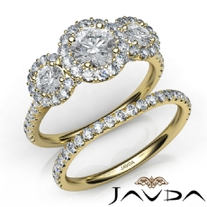 3 Stone Halo Bridal Set Pave Round diamond engagement Ring in 14k Gold Yellow
