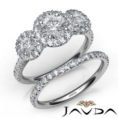 3 Stone Halo Bridal Set Pave Round diamond engagement Ring in 14k Gold White