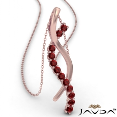 Twisted Ribbon Round Ruby Gemstone Pendant Necklace 18k Rose Gold <Dcarat>
