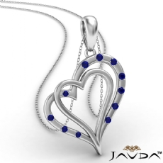 Two Heart Round Sapphire Gemstone Pendant Necklace 18k Gold White <Dcarat>